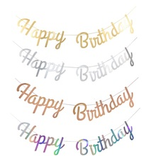 Banner Laser-Happy-Birthday-Banner-Garland Birthday-Sign Hanging-Flag Party-Decoration