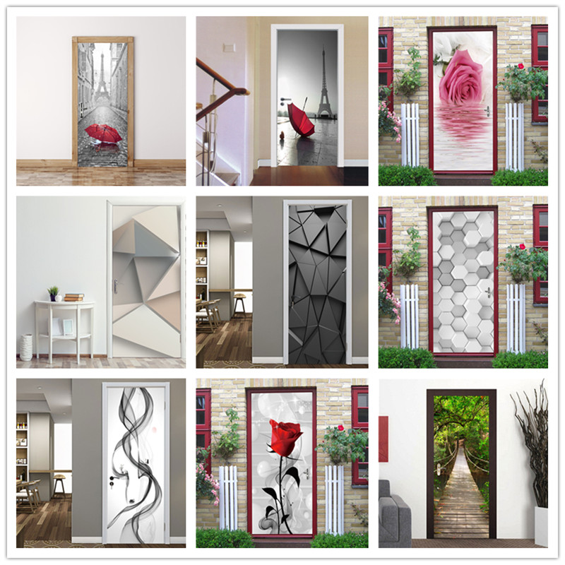 3D Door Sticker Natur Adhesive Waterproof Wallpaper For Doors DIY Mural Decals Home Decor Living Room Bedroom Poster Deursticker