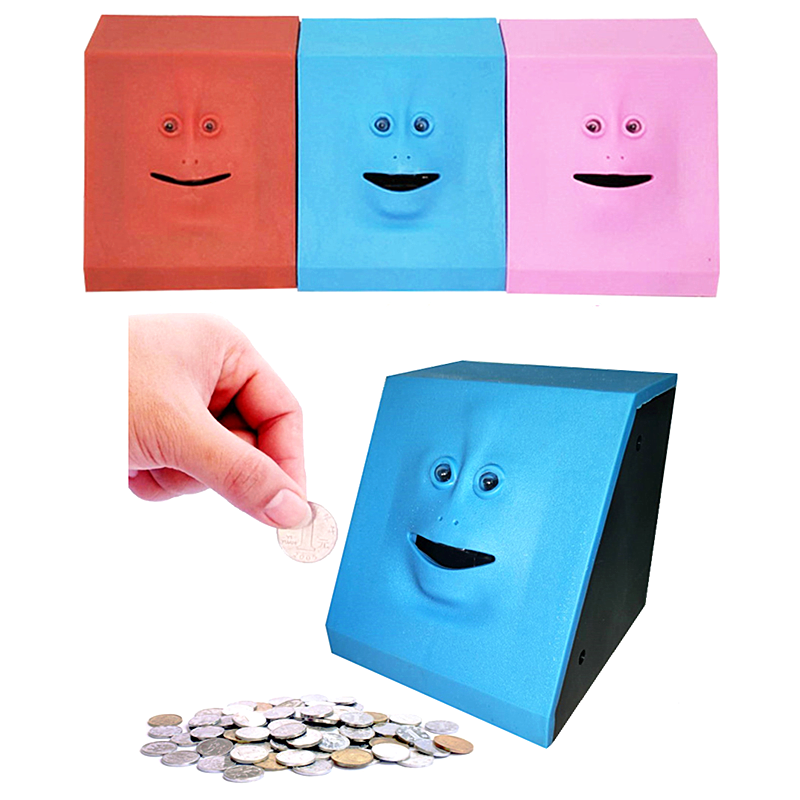 Cute Face Bank Money Safe Box Piggy Banks Eats Sensor Coin Box For Money Saving Creative Safes Piggy Bank Children Gift