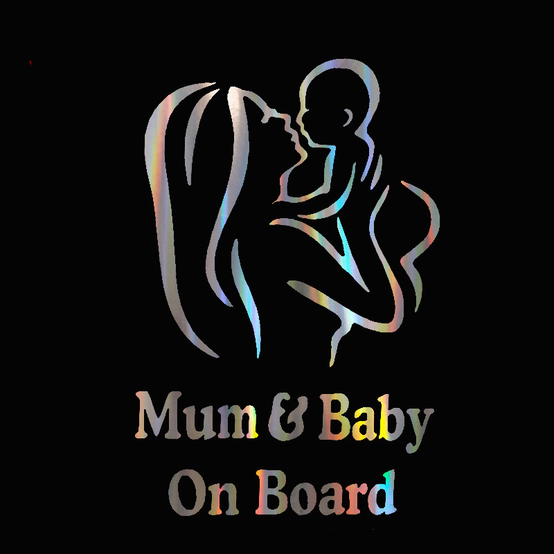 1pc Mum And Baby On Board Car Safety Warining Stickers Creative Figure Window Decal Styling Reflective Waterproof Paster 12*18cm
