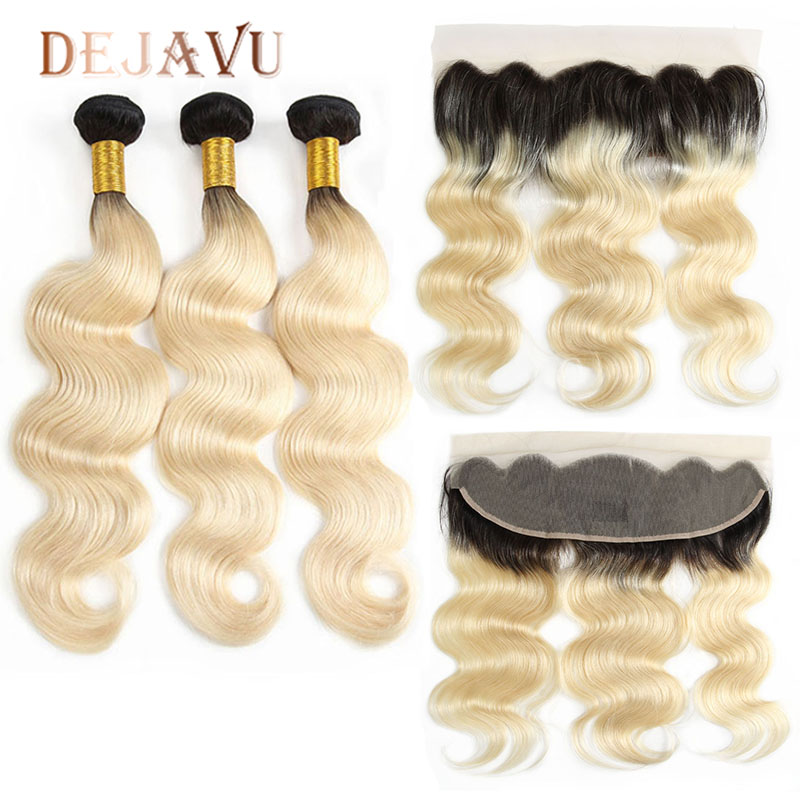 Dejavu 613 Bundles With 13*4 Frontal Brazilian Body Wave With Frontal Remy Blonde Human Hair Lace Frontal Closure With Bundle