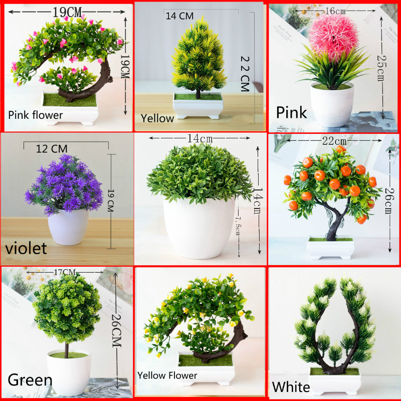 Multi Style Artificial Plants Bonsai Small Tree Pot Plants Fake Flowers Potted Ornaments For Home Decoration Hotel Garden Decor
