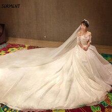 SERMENT 2019 New Floral Print Wedding Lace Tail Long Sleeve Aristocratic Elegant Bride Explosion Dress Spot