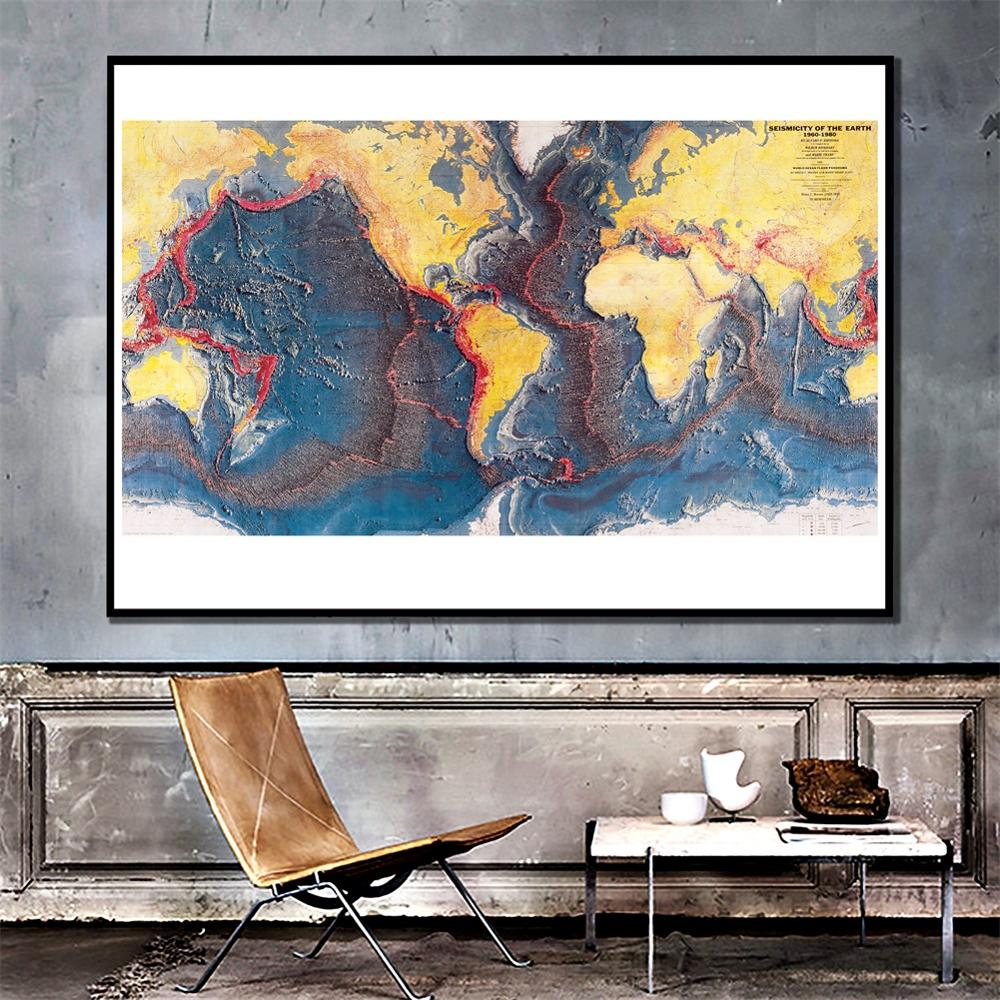 24x48 Inch 1960-1980 Seismicity Of The Earth Home Office Wall Decor Canvas Painting Living Room Decor Map