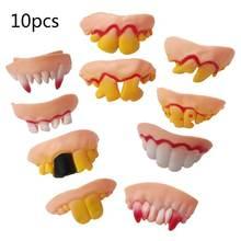 10 шт/компл Хэллоуин Поддельные зубы клыки уродливая модель