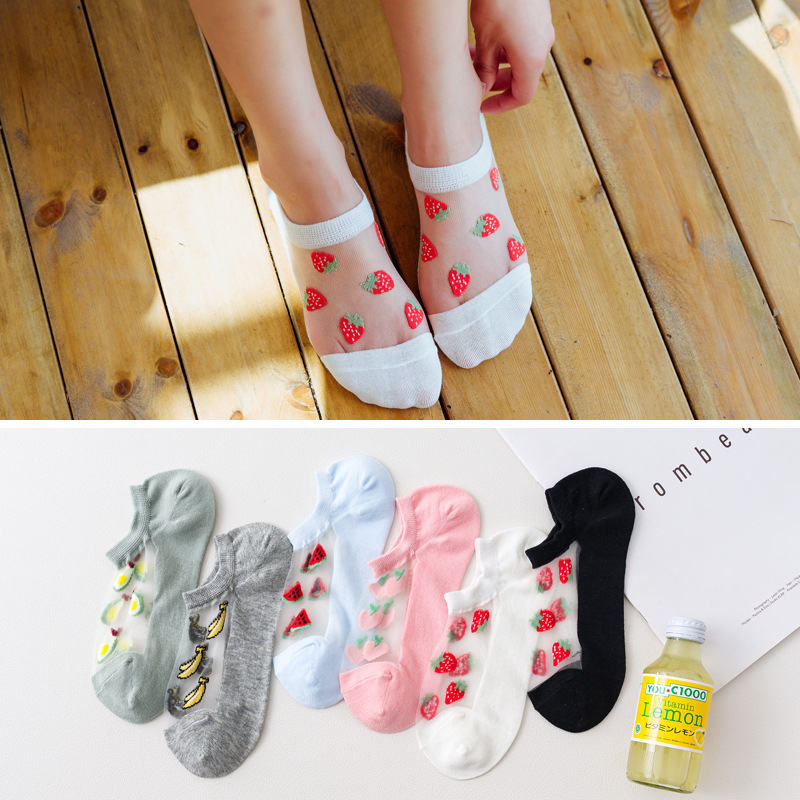 6 Pairs Women Socks Summer New Cotton Patchwork Ankle Socks Fruits Cute Thin Socks Colorful Girls Lovely Socks