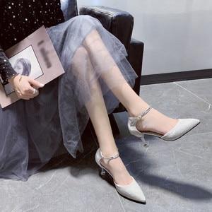 Shoes Woman Sandals High Heels Women Summer Fashion Button Shoes High Heel Tip Fine-heeled Sandals Chaussures Femme Босоножки