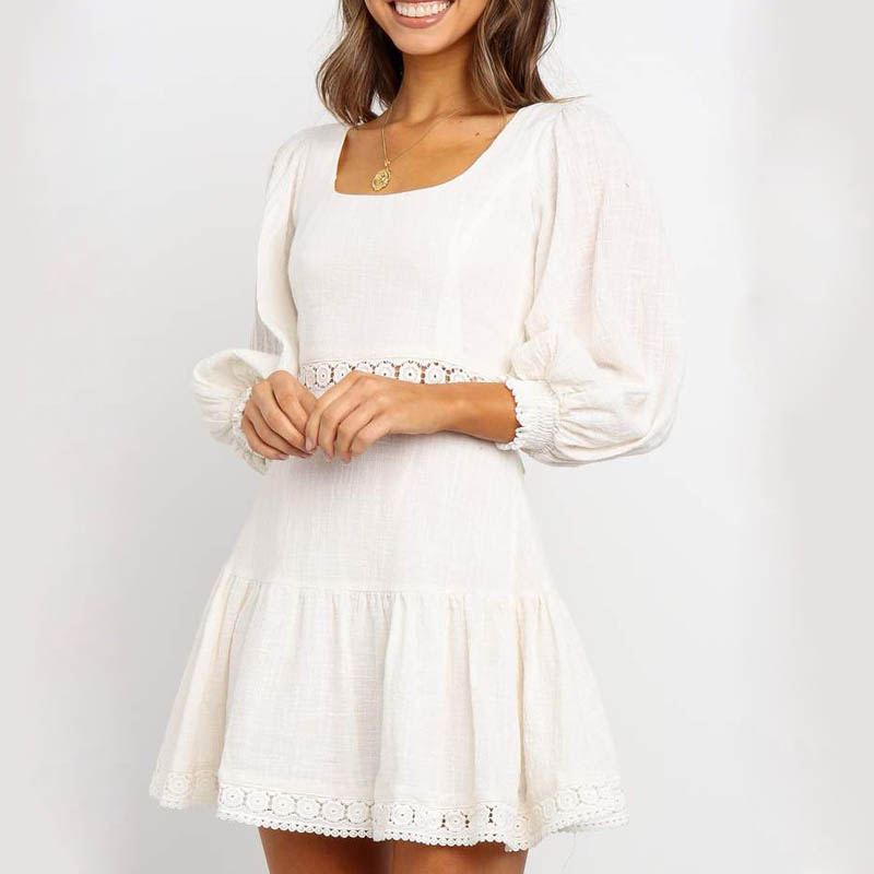 Bellflower 2019 Autumn Women White Long Sleeve Cotton Mini Dress Femme Hollow Out Backless Sexy Dresses Vestidos in Dresses from Women 39 s Clothing