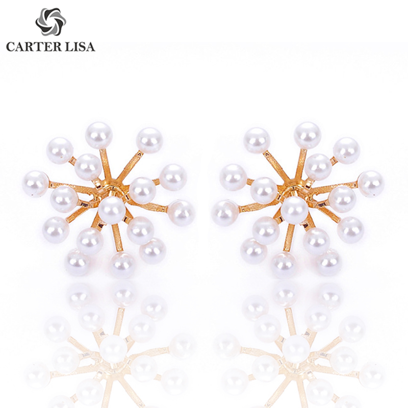 CARTER LISA Pirecing Atomic Snowflake Faux Pearl Small Stud Earings For Women Girl Fashion Modern Jewelry Party Gifts 2019