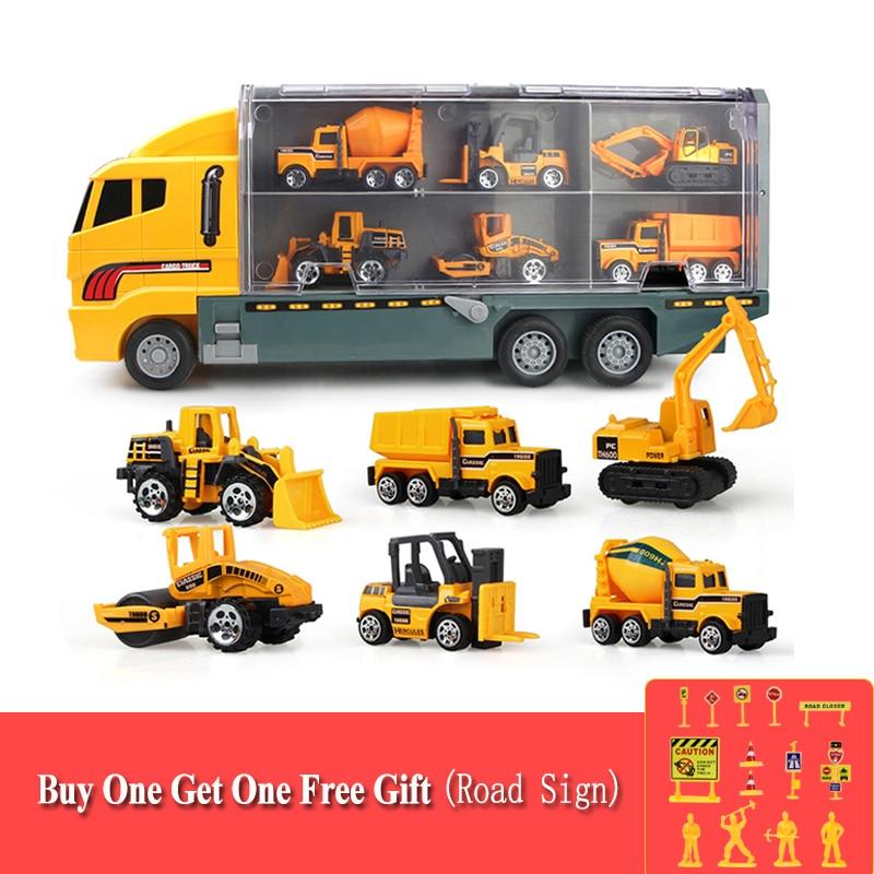 Большой грузовик и 6 шт. мини Литой автомобиль модель 164 масштаб Игрушки транспортные средства Перевозчик грузовик инженерный автомобиль и...