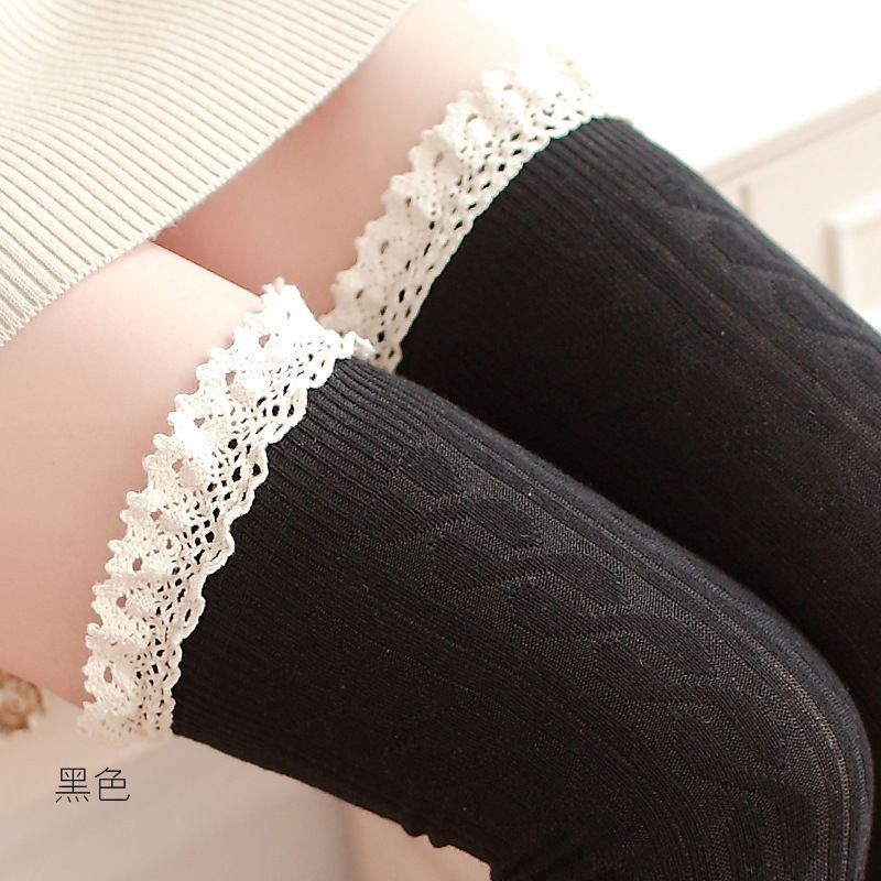 Sexy Women Warm Cotton Thigh High Stockings Knit Over Knee Lace Girls Long Stockings