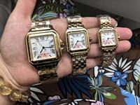 Luxury Brand New Men Women Japan Quartz White Date18K Yellow Gold Sapphire Square Watch Lady Rome Dial Santos Sport Watches AAA+