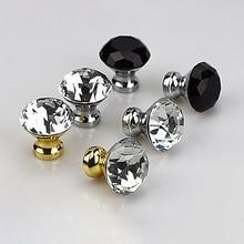Tiradores de armario de cocina de cristal de diamante de 30mm tiradores de puertas de armario tirador de armario Vintage tiradores de cajón