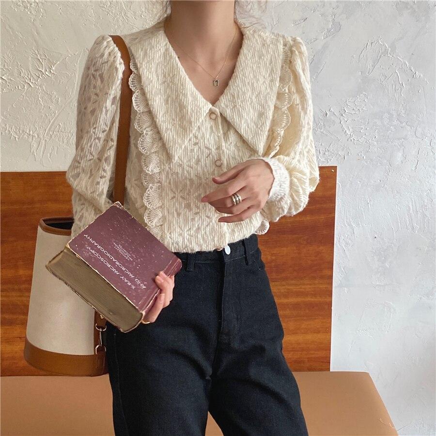 Hac7c4457d0fb44518239b8e259ea9faeG - Spring / Autumn Chelsea Collar Long Sleeves Lace Blouse