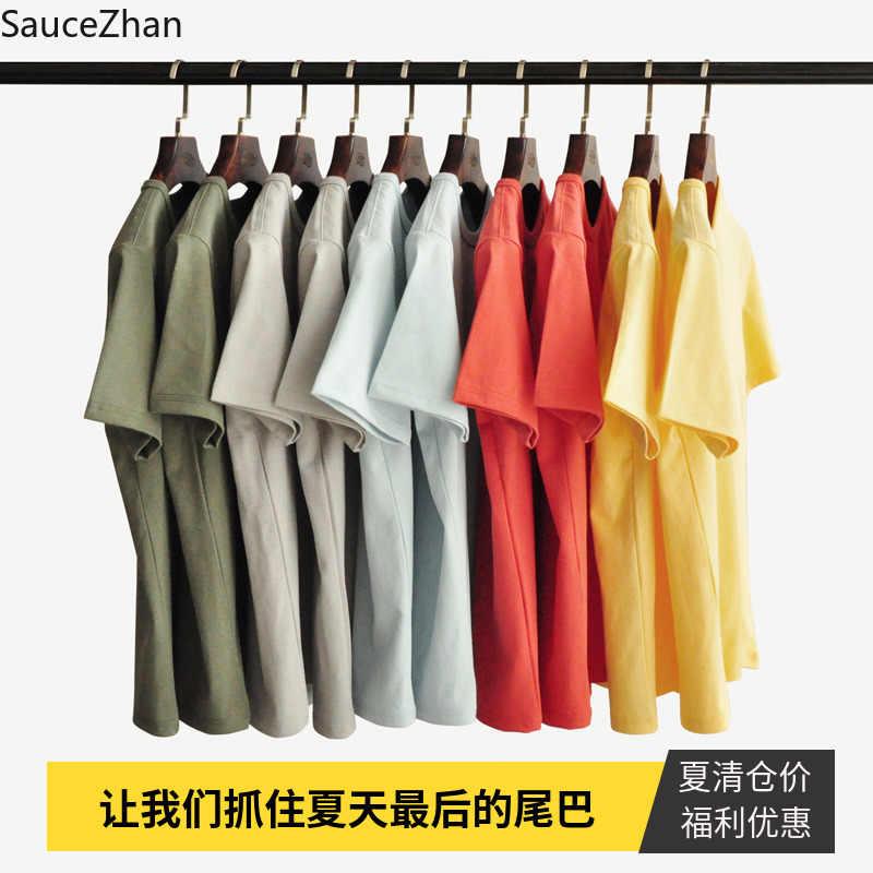 Мужская Летняя хлопковая Футболка sauzezhan, Однотонная футболка с круглым вырезом, плотная мягкая футболка без деформации