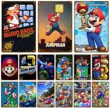 Tin Sign Bar-Decoration Metal-Plate Plaque Shabby Vintage Super-Mario-Gamer Poster