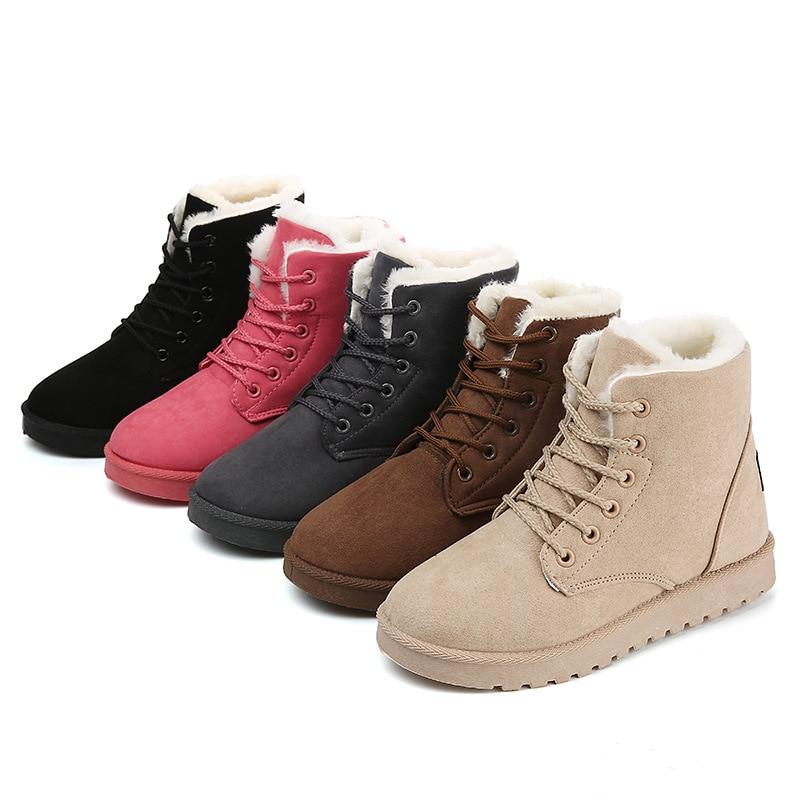 Snow Boots 2019 New Mid-Calf Ladies Cotton Winter Women Warm Fur Shoes Women'S Lace Up