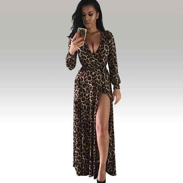 Vestido largo para fiesta de graduación con estampado de leopardo con corte bajo y escote en V profundo Sexy para mujer vestido WF501