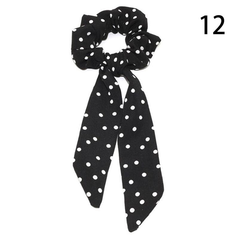 Femmes banderoles chouchous à pois imprimé Floral élastique noeud cheveux corde fille cheveux cravates coréen doux cheveux accessoires chapeaux 66