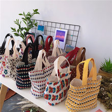 Sweet Style - 2021 Summer Women Tote Canvas Beach Bag Girls Cute Handbags Lady's Floral Top Handle Bags Suitable for Sweet Dress