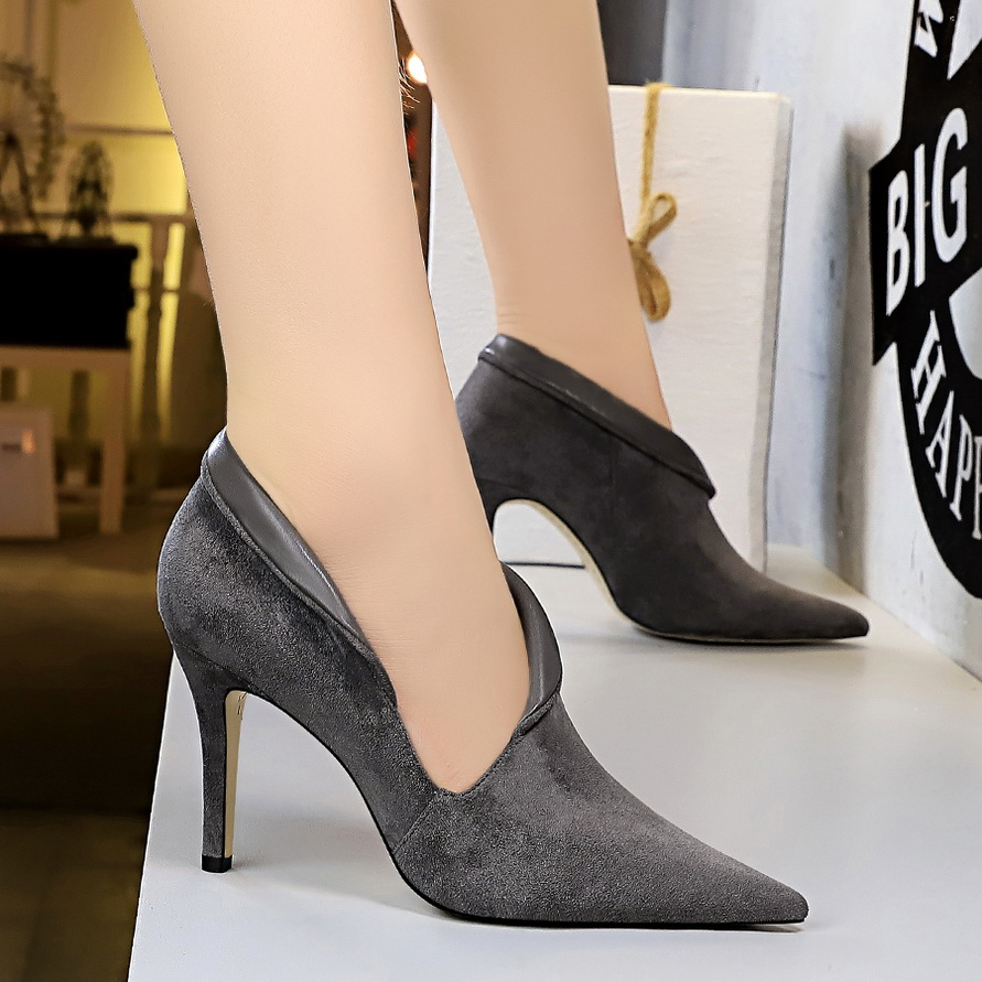 BIGTREE Fashion High Heel Women's Shoes Suede Pointed Sexy Nightclub Thin Hollow Out High Heels Deep Mouth Block Heels Pumps