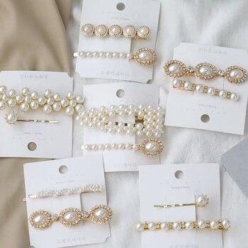 Pasadores de pelo de 12 estilos, joyería para mujeres, broches de perlas simuladas, palo dorado, Accesorios para el cabello de cristal coreano, horquilla para boda 2019