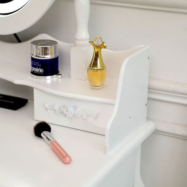 Vanity 4 Drawer Dresser White w/ Mirror 6