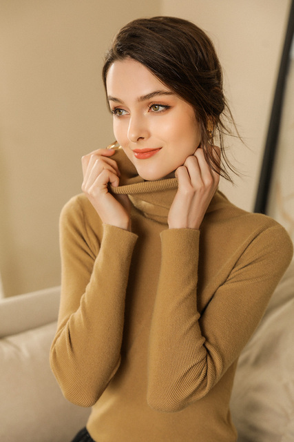 Autumn and Winter New Cashmere Sweater Women High Collar Pullover Fashion Sweater Warm Bottom Sweater 3