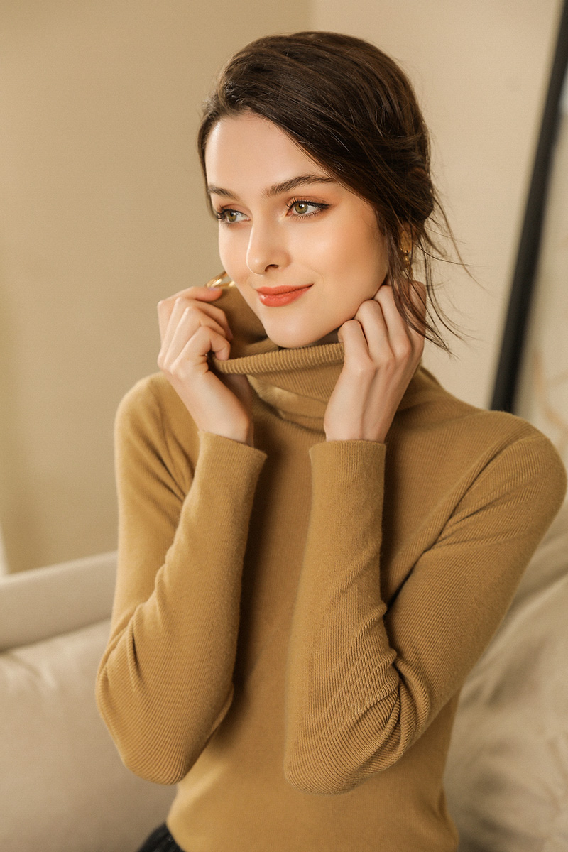 Image 3 - Autumn and Winter New Cashmere Sweater Women High Collar Pullover Fashion Sweater Warm Bottom SweaterPullovers