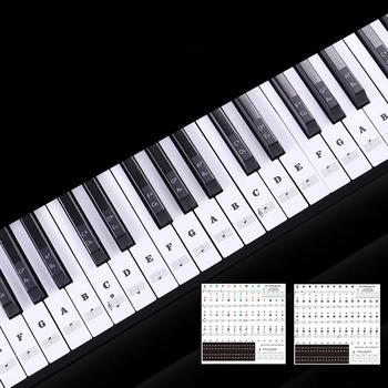 Transparent detachable music decal notes piano keyboard stickers 54/61 or 88-key electronic piano piano spectrum sticker symbol 90pcs piano keyboard washer high quality piano tool hitch pin piano repair parts useful piano accessory