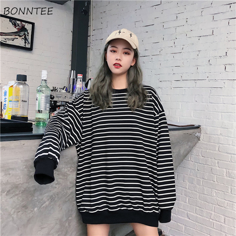 Hoodies Women O-Neck Retro Chic Striped Loose Korean Style Sweatshirt Simple Soft Long Sleeve Pullovers Womens Kawaii All-match
