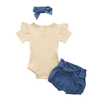 New Newborn Baby Girls Clothes Set Summer Solid Color Short Sleeved Romper Shorts Headband 3Pcs Outfit New Born Infant Clothing