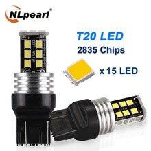 NLpearl 2x Signal Lamp 12V 2835 15SMD 7440 LED W21W WY21W Canbus Car Turn Light T20 7443 W21 5W Reverse Brake Lights