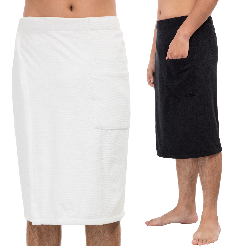 Zexxxy Men's Comfy Soft Bath Wearable Elastic Waist Bathing Bath Wrap With Pocket For Beach Travel Sports Gym Towel Set
