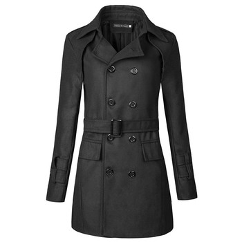 2020 Autumn and Winter New Lapel Belt Men's Slim Double-breasted Windbreaker Jacket Men's Clothing Mens Trench Coat Jacket brand children s clothing in the big girl wool coat autumn and winter children s long section of the red double breasted trench