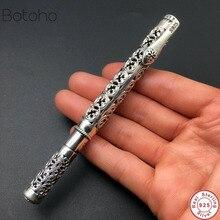 الفضة النقية اللون الاسترليني 925 الفضة اللون قلم هدية للرجال خمر منحوتة مخرمة الأعمال قلم حبر جاف قلادة مجوهرات