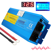 LCD Display 4000W peak DC12v to AC220V pure sine wave power inverter transformer with Dual Europe Socket converter for travel