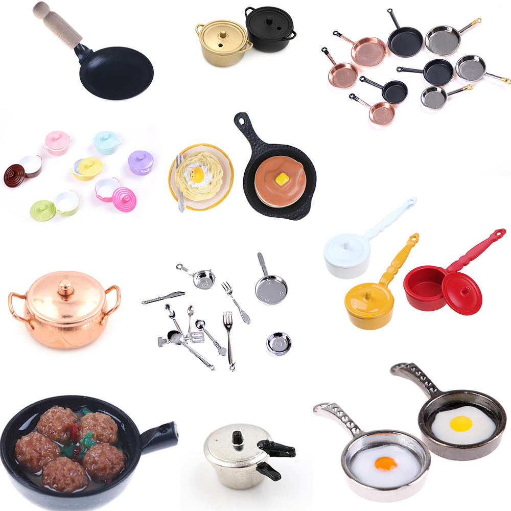 Multi Styles Pot Frying Coffee Cake Pot Boiler Pan Copper Pot With Lid Rice Cooker Doll Simulation 1/12 Dollhouse Kitchen Toys
