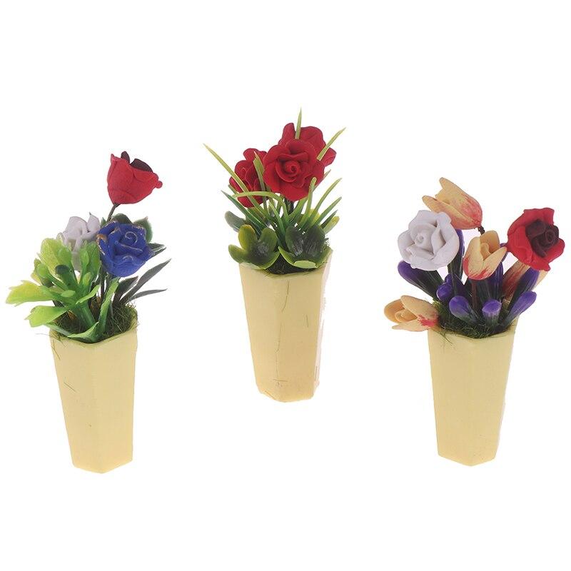 3pcs Mini Blumentöpfe Gartenmöbel Blumentopf für 1:12 Puppenhaus Garten Deko