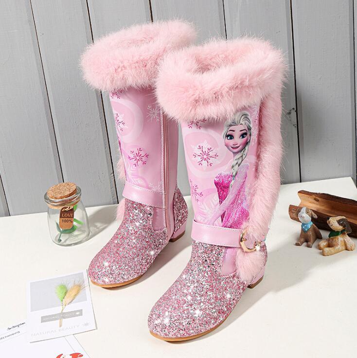 Girls Fashion Elsa Boots Kids Princess PU Leather Water-proof Children Warm Cotton Boots Kids Big Girls Boot