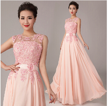 See Though Back Long Beaded Pink Formal Gown Full Length Elegant Party Guest Prom Gown 2018 Vestido De Noiva Bridesmaid Dresses