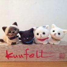 Jiwuo針フェルトキット針工芸ウールフェルト動物猫キットdiy不完成手芸針材料バッグ