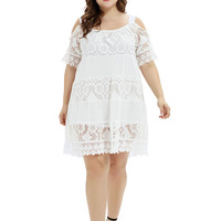 Sexy Black Plus Size Dress Fashion Off the Shoulder White Lace Women Dresses Solid Summer Dress Office Ladies Clothing Vestido