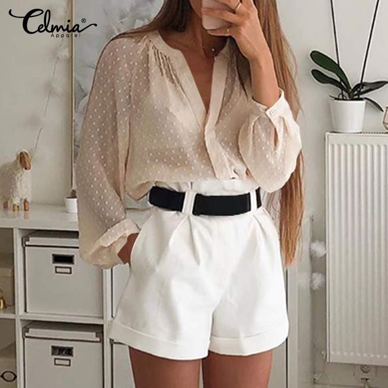 Sexy See-through Summer Tops Celmia V-neck Long Sleeve Women Blouse 2020 Fashion Polka Dot Party Club Blusas Elegant Shirts 5XL