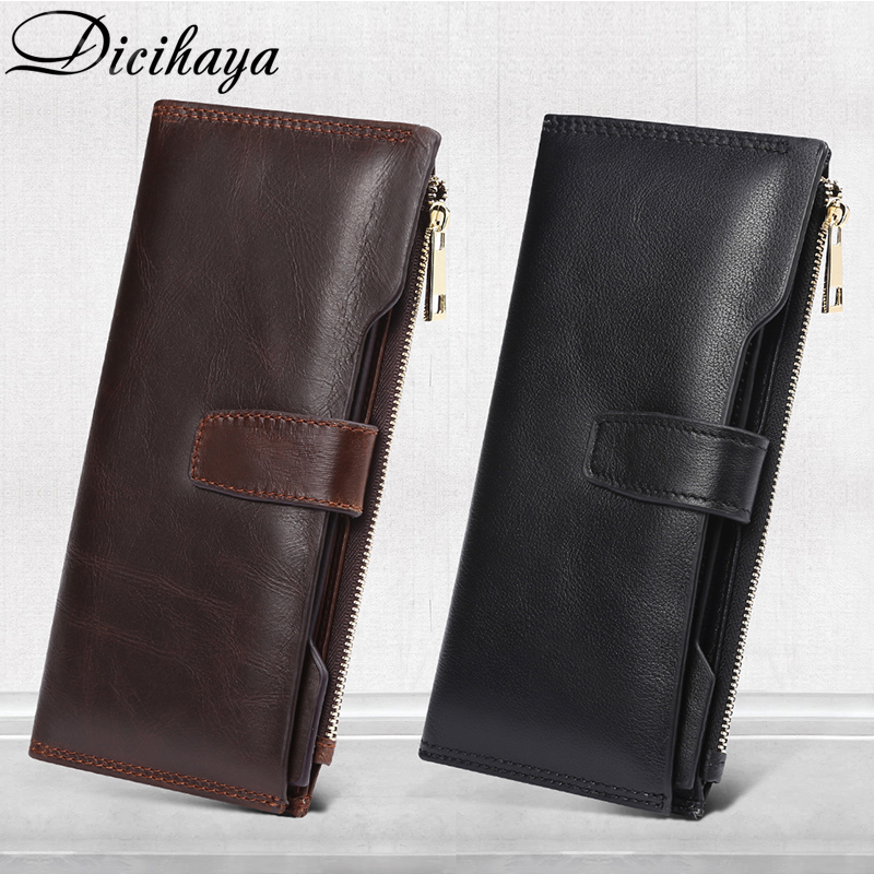 DICIHAYA Free Engraved Genuine Leather Men Wallets Fashion Purse Card Holder Cowhide Carteira Vintage Long Wallet Clutch Bag