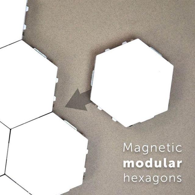 Quantum Lamp White LED Hexagonal Lamps Modular Touch Sensitive Night Light Magnetic Hexagons Creative Wall Lampara Decoration