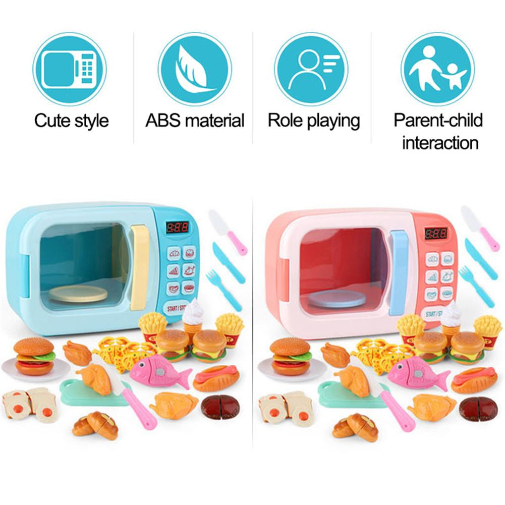 New Children Toy Kitchen Microwave Play Set Electric Timing Simulation Kitchen Ware Pretend Play Set For Kid's Birthday Gift