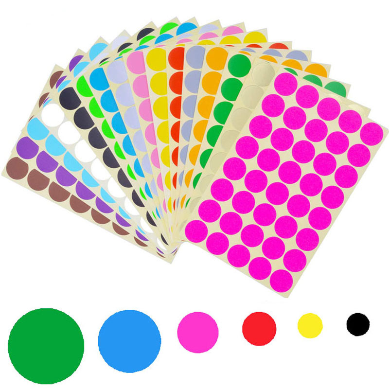 6/8/10/13/19/25mm  Colorful Empty Papers Sticker For Glass Essential Oil Bottle Cap Lid Labels Blank Round Circles Stickers