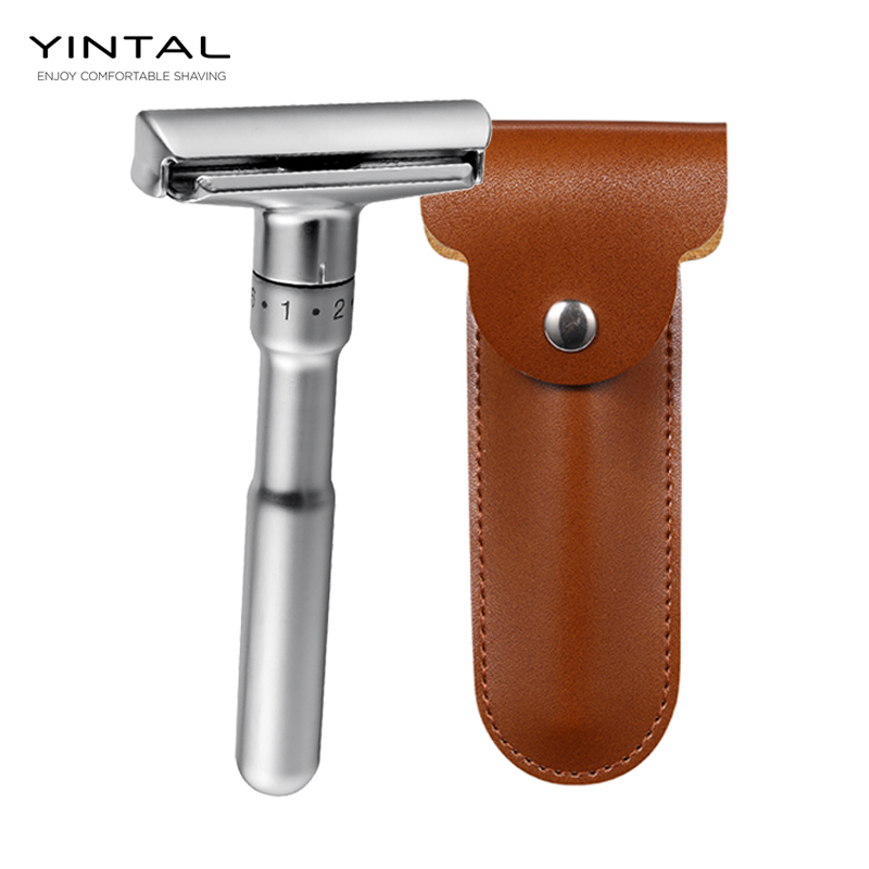 Full Zinc Alloy Safety Razor for Men Adjustable 1-6 Files Close Shaving Classic Double Edge Razors 1 Holder 5 Blades 1 Case