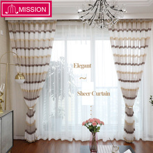 MISSION Modern Luxury Window Striped Sheer Curtains for Living Room Bedroom Voile Curtain Panels Treatments Custom Made